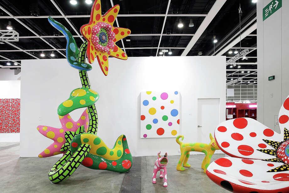 Works by by Yayoi Kusama, represented by gallery Victoria Miro, London, and Ota Fine Arts, Tokyo, Singapore are displayed at Art Basel , May 22, 2013 in Hong Kong. Photo: Jessica Hromas, Getty Images / 2013 Getty Images