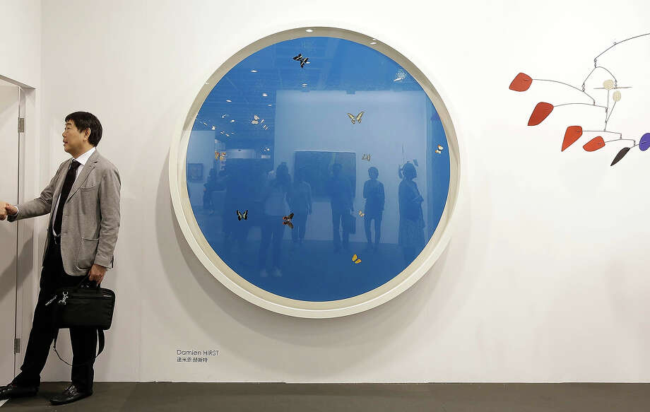"""Blue Angel"" 2005 by Damien Hirst, represented by Van De Weghe, New York gallery space at Art Basel, May 22, 2013 in Hong Kong. Photo: Jessica Hromas, Getty Images / 2013 Getty Images"