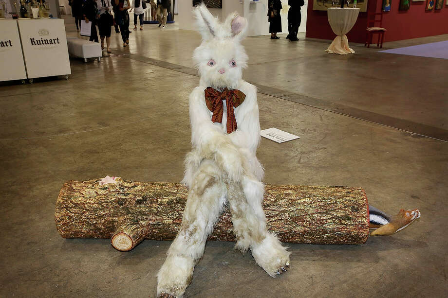 """Log Lady and Dirty Bunny"" 2009 by Marnie Weber, represented by Simon Lee Fallery, London, at Art Basel in Hong Kong, May 22, 2013 in Hong Kong. Photo: Jessica Hromas, Getty Images / 2013 Getty Images"