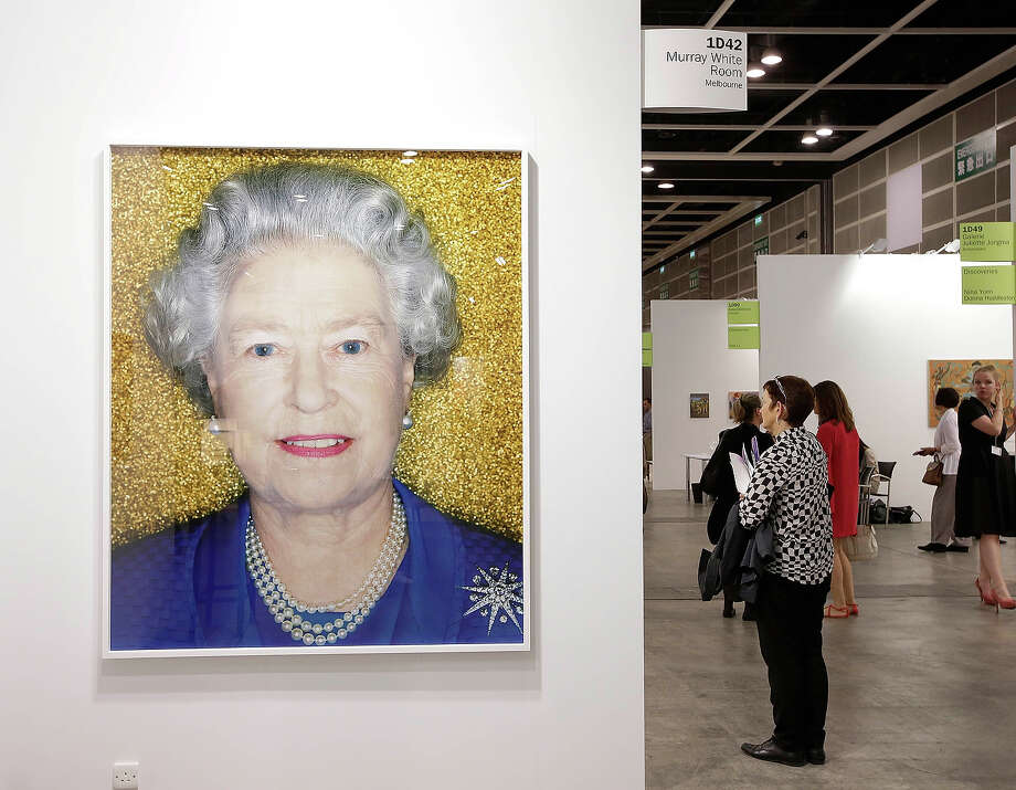"""Her Majesty, The Queen, Elizabeth II, 2001"" by Polly Borland, represented by Murry White Room, Melbourne at Art Basel, May 22, 2013 in Hong Kong. Photo: Jessica Hromas, Getty Images / 2013 Getty Images"