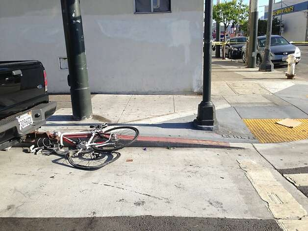 Bicycle that was hit by a Recology garbage truck in the Mission District on May 23, 2013. The cyclist was killed. Photo: Ellen Huet/The Chronicle