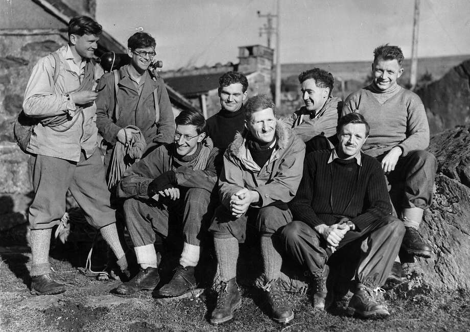 Members of the British Expedition to Mount Everest are in Snowdonia to test their equipment before departure. From l to r, Back Row, W Noyce, M Westmacott, T D Bourdillon, Major Wylie and R B Evans. Front row G C Band, Colonel John Hunt (Baron Hunt of Lanfair Waterdine) and A Gregory. Photo: Keystone, Getty Images / Hulton Archive