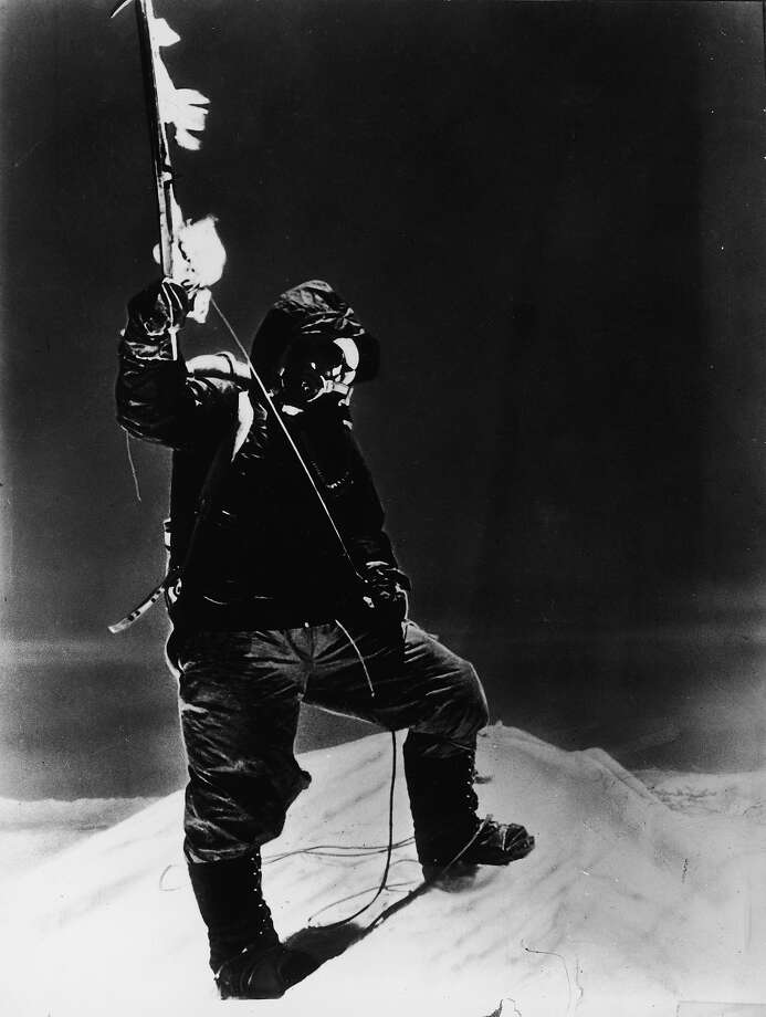 Sherpa Tenzing Norgay (1914 - 1986) holds an ice axe at the summit of Mt. Everest, Nepal, circa 1953. Photo: Pictorial Parade, Getty Images / 2004 Getty Images