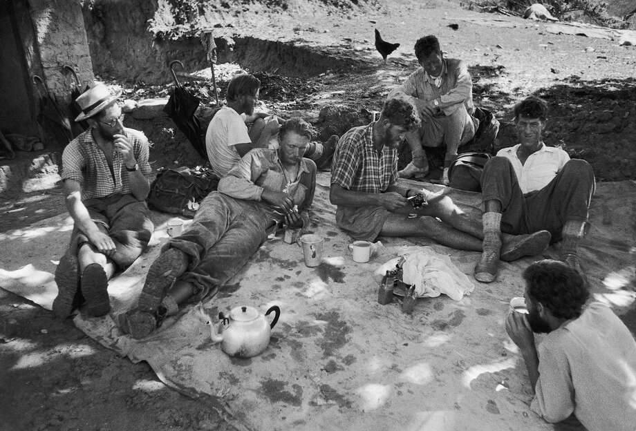 Return of the Mount Everest expedition. This is the British camp lead by Edmund Hillary (second from right) resting on the way down to Katmandu, June 1953. Photo: James Burke, Time Life Pictures/Getty Images / Time & Life Pictures