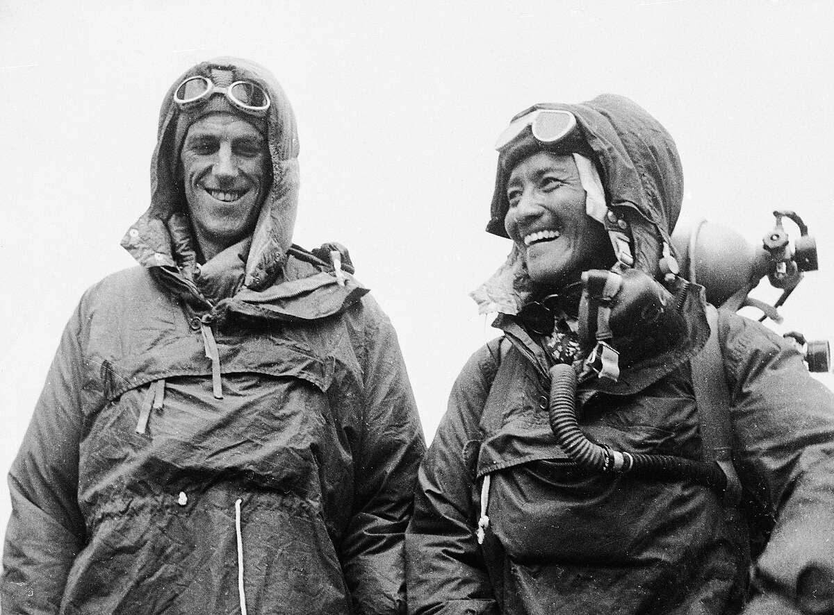 On May 29, 1953, the first successful ascent of Everest was lead by the British team of John Hunt and Sir Edmund Hillary, above, with sherpa Tenzing Norgay, also pictured.