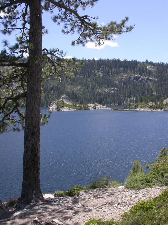Overlook of the lower end of Bowman Lake in Tahoe National Forest