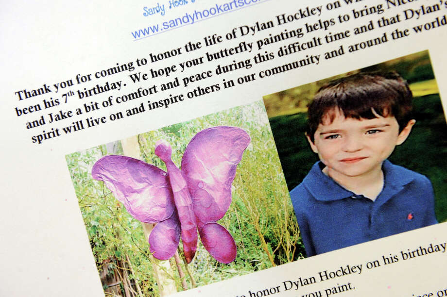 A new playground at Long Lots School will be named in honor of Sandy Hook Elementary School victim Dylan Hockley's, seen on this card produced by a Newtown arts center. Photo: Carol Kaliff, File Photo / The News-Times