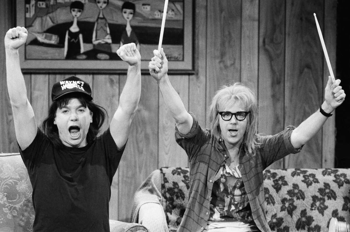 Mike Myers as Wayne Campbell and Dana Carvey as Garth Algar during the 'Wayne's World' skit on March 23, 1991.