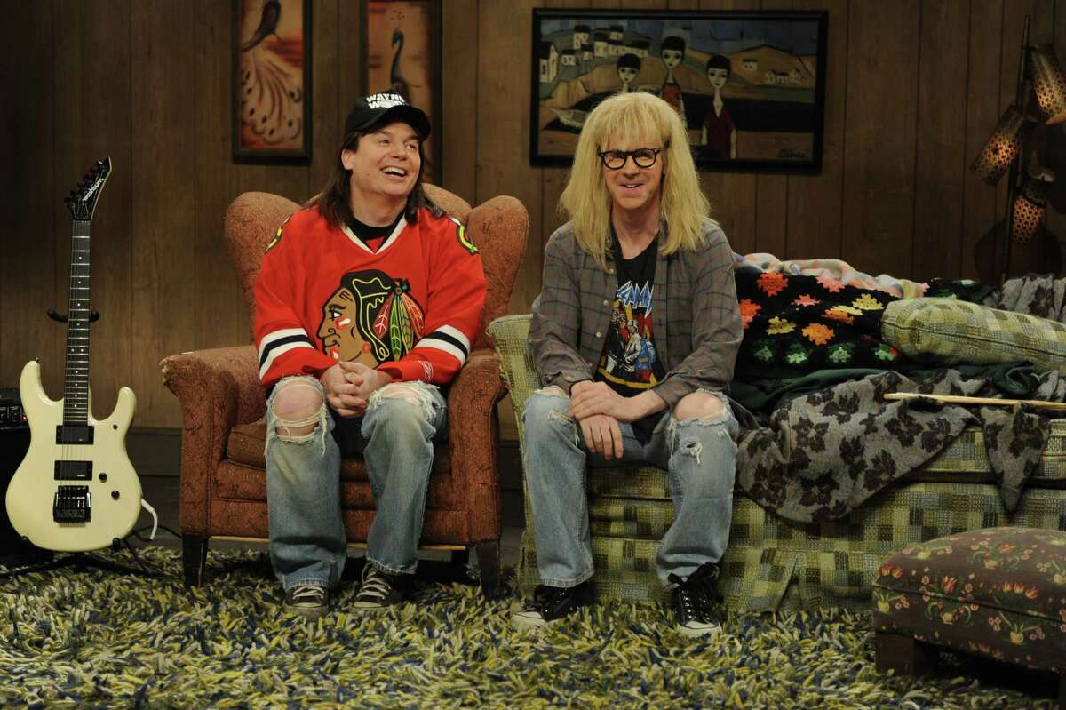 Mike Myers, left, turns 50 on May 25, 2013. Take a look back at the Canadian funnyman's best moments. Myers is pictured above with Dana Carvey as Garth and Wayne on Saturday Night Live in an undated photo.