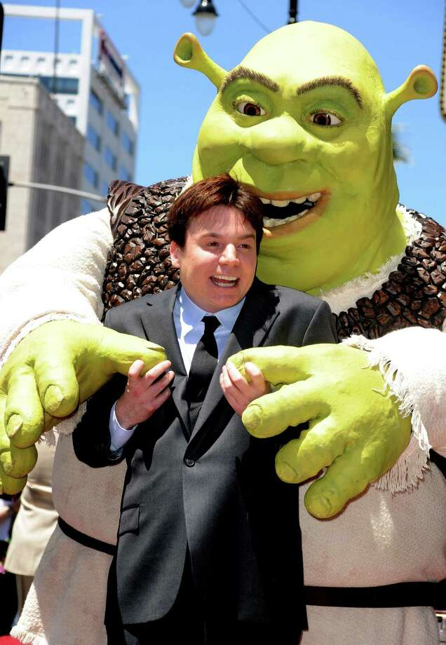 Mike Myers poses with Shrek who was honored on The Hollywood Walk Of Fame on May 20, 2010. Photo: Frazer Harrison, Getty Images / 2010 Getty Images