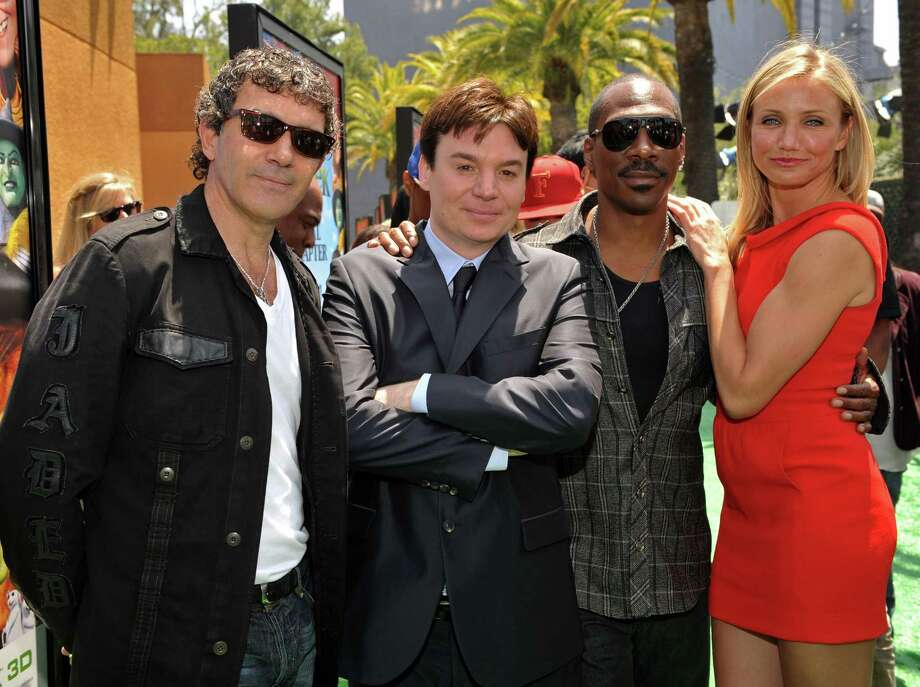 "Antonio Banderas, Mike Myers, Eddie Murphy and Cameron Diaz arrive at the ""Shrek Forever After"" Los Angeles premiere held at Gibson Amphitheatre on May 16, 2010 in Universal City, Calif.  (Photo by Lester Cohen/WireImage) Photo: Lester Cohen, Getty Images / 2010 Lester Cohen"