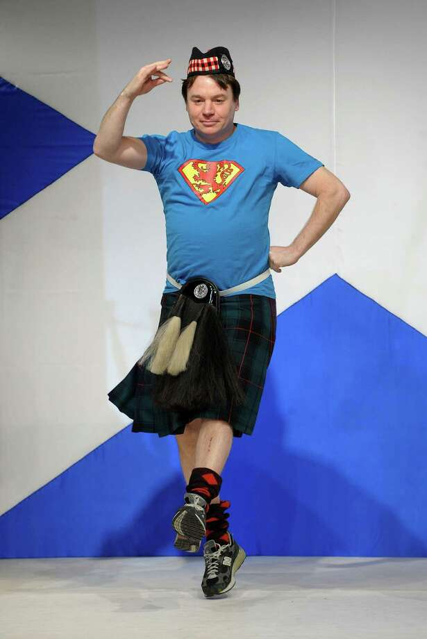 "Mike Myers walks the runway at the 8th annual ""Dressed To Kilt"" Charity Fashion Show presented by Glenfiddich at M2 Ultra Lounge on April 5, 2010 in New York City. Photo: Andrew H. Walker, Getty Images / 2010 Getty Images"