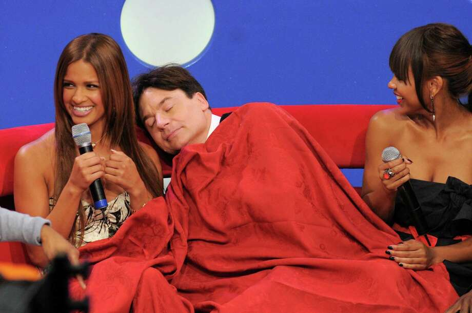 Rocsi, Mike Myers and Meagan Good appear on BET's '106 & Park' at the BET Studios on June 18, 2008 in New York City. Photo: Bryan Bedder, Getty Images / 2008 Getty Images