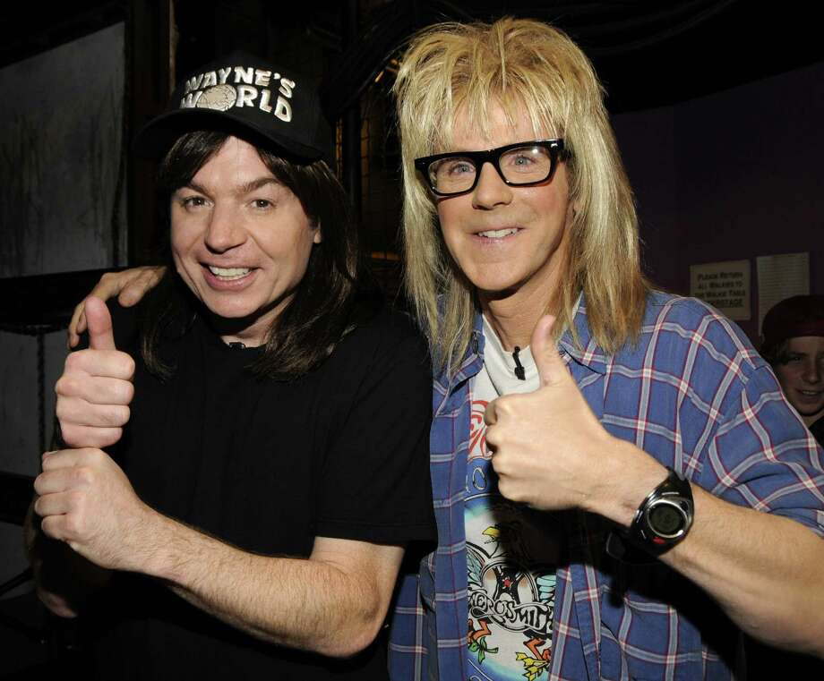 Mike Myers and Dana Carvey backstage at the 2008 MTV Movie Awards on June 1, 2008 at the Gibson Amphitheatre in Universal City, Calif.  (Photo by Kevin Mazur/WireImage) Photo: Kevin Mazur, Getty Images / 2008 Kevin Mazur
