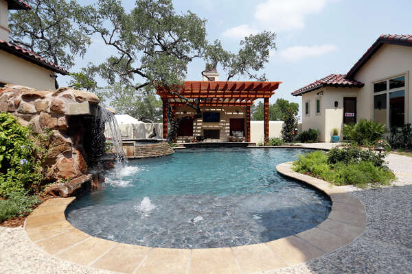 A view of the pool at the Burdick & Frank Ltd. home , 3931 Luz Del Faro, during the 2013 Spring Parade of Homes at Cibolo Canyons.