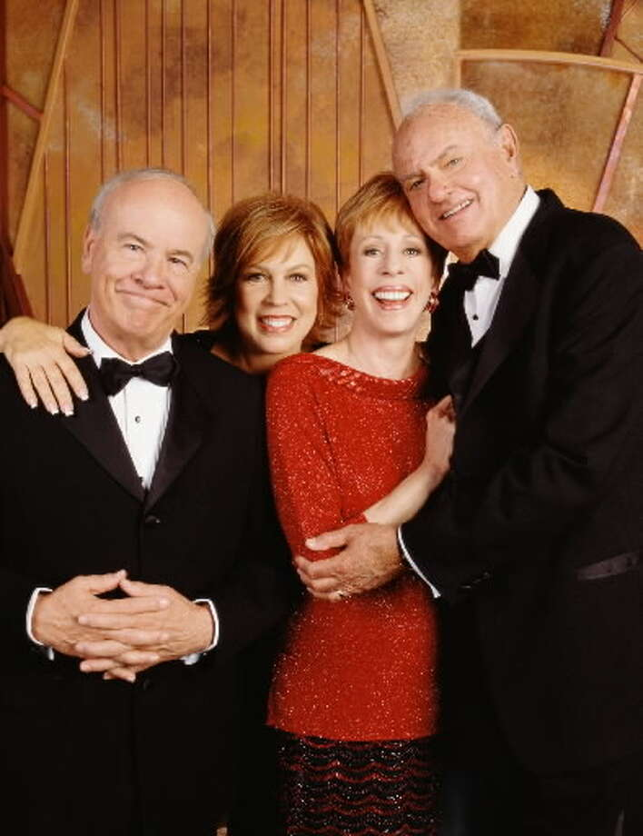 "The reunited cast of ""The Carol Burnett Show."" From left: Tim Conway, Vicki Lawrence, Carol Burnett and Harvey Korman"