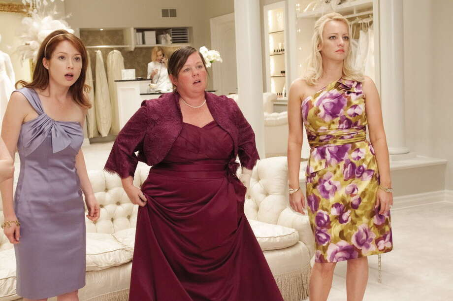 "Melissa McCarthy, center, in ""Bridesmaids."""