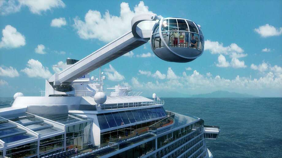 This computer-generated image provided by the Royal Caribbean International cruise line shows its forthcoming ship, Quantum of the Seas. The ship will offer a number of innovative features that are the first-ever for the cruise industry, including The North Star, an observation capsule on a movable arm that will offer a bird's eye view from 300 feet above the water. The 2013 cruise season began with a nightmare: A Carnival ship adrift with no power. But in the last month or so, several cruise companies _ including Carnival _ have announced major overhauls to old ships and exciting innovations on new ships, from engineering upgrades to theme park-style rides.  (AP Photo/Royal Caribbean International) Photo: Uncredited