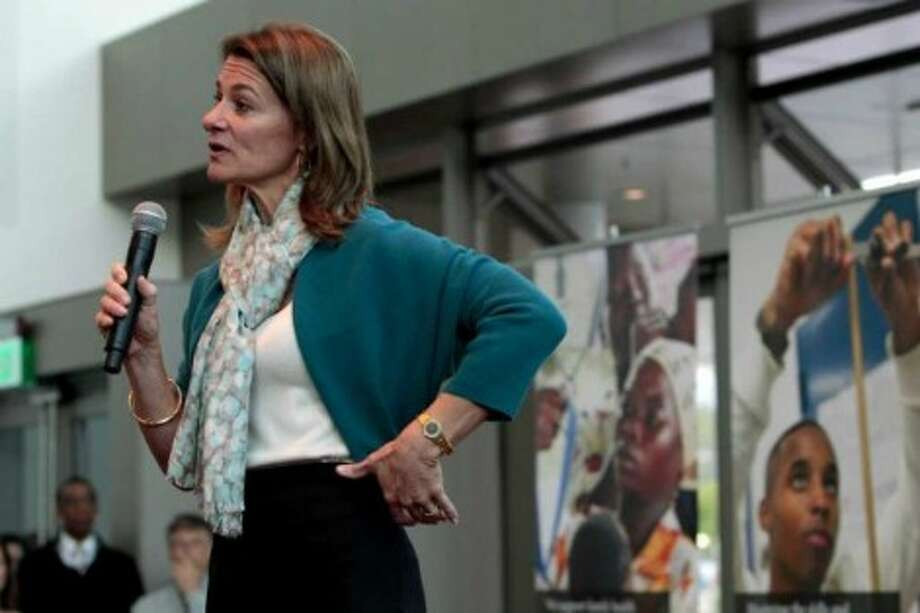 Melinda Gates speaks at the opening reception of the Bill & Melinda Gates Foundation compound in Seattle.  She has emerged as global leader in cause of family planning. Photo: AP / SL