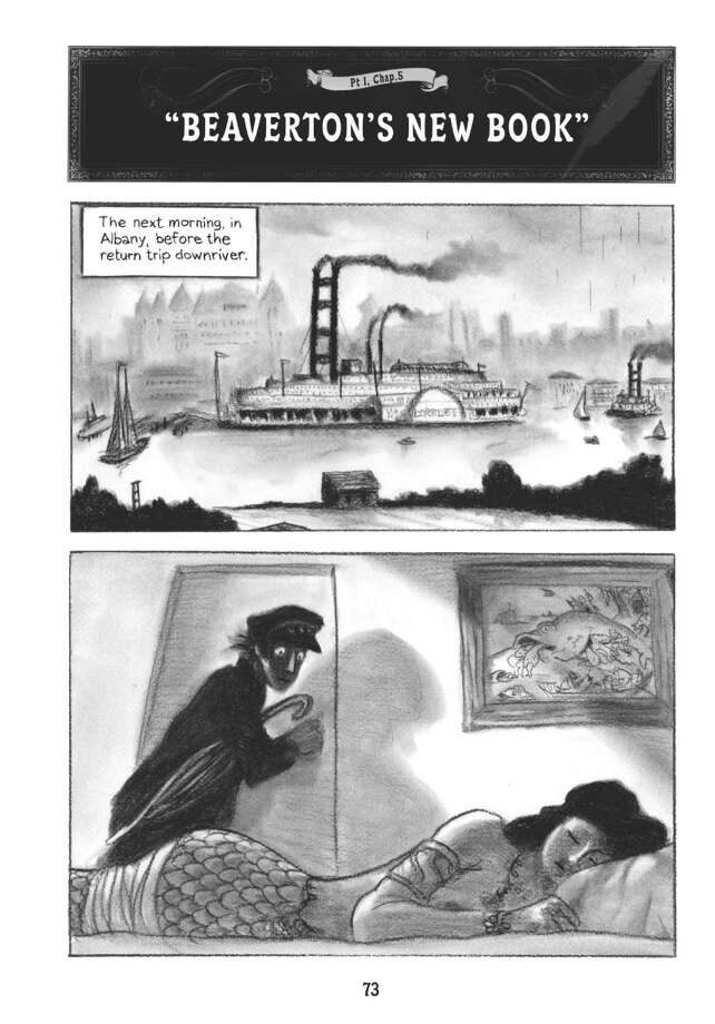 "A page from Mark Siegel's ""Sailor Twain or the Mermaid in the Hudson."""