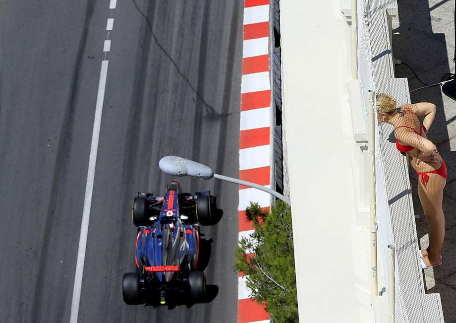 Keep that racket down, would you? Some of us up here have to work (on our tans): The first practice session at the Circuit de Monaco gets under way ahead of the Monaco Formula One Grand Prix. Photo: Alexander Klein, AFP/Getty Images