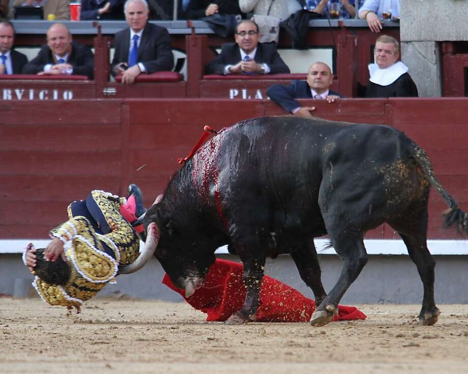 Round one to el toro:A bull gores Spanish matador Ivan Fandino in the Las Ventas 