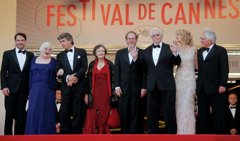 From left, actor Will Forte, actress June Squibb, director Alexander Payne, actor Angela McEwan, producer Albert Berger, actors Bruce Dern and Laura Dern and producer Ron Yerxa stand at the top of the stairs for the screening of Nebraska at the 66th international film festival, in Cannes, southern France, Thursday, May 23, 2013. (AP Photo/Francois Mori) Photo: Francois Mori