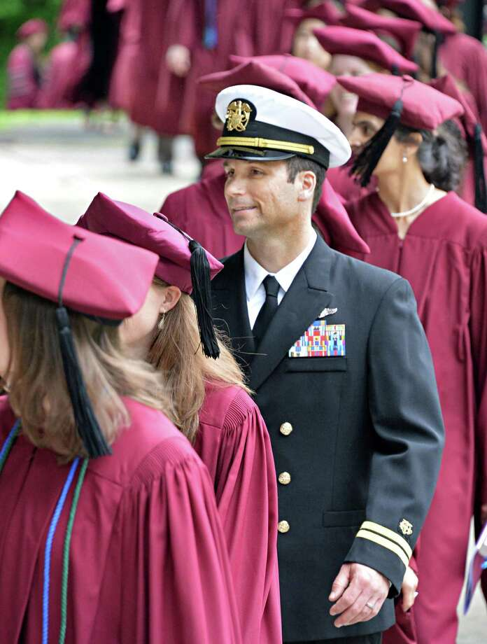 Lt. Brian Hunter of the U.S.Public Health Service and classmates during Albany Medical College commencement at the Saratoga Performing Arts Center in Saratoga Springs, NY, Thursday May 23, 2013.  (John Carl D'Annibale / Times Union) Photo: John Carl D'Annibale / 10022119A