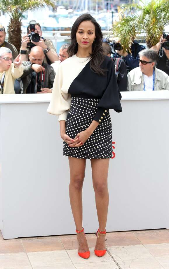 Zoe Saldana  from 'Blood Ties' meeting the press in Cannes dressed in Emanuel Ungaro.