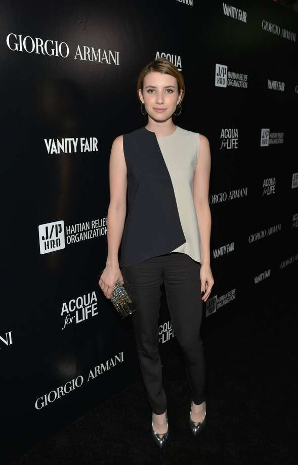 Actress Emma Roberts in color block blouse.