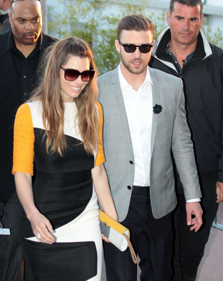 Jessica Biel and Justin Timberlake leaving Le Grand Journal studio during the Cannes Film Festival.