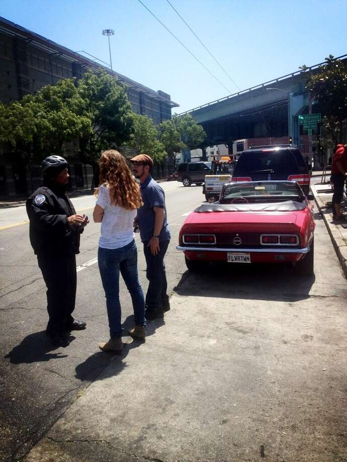 Also at SoMa Streat Food Park, trying to make nice with parking enforcement as the officer creeps toward the Camaro.