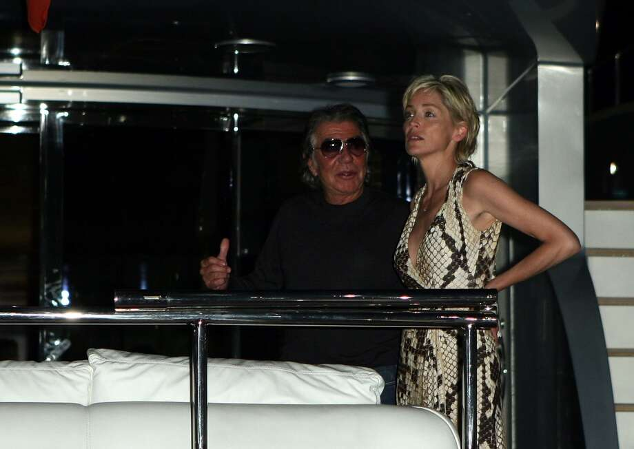 CANNES, FRANCE - MAY 20:  Designer Roberto Cavalli and actress Sharon Stone  attend Roberto Cavalli's Yacht Party during the 60th International Cannes Film Festival on May 20, 2007 in Cannes, France.  (Photo by Chad Buchanan/Getty Images)