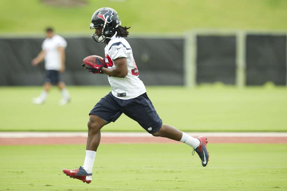 Texans wide receiver Keyshawn Martin runs after making a catch.