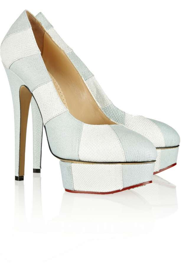 Priscilla glitter-finished snake-effect leather platform pumps in Sky Blue