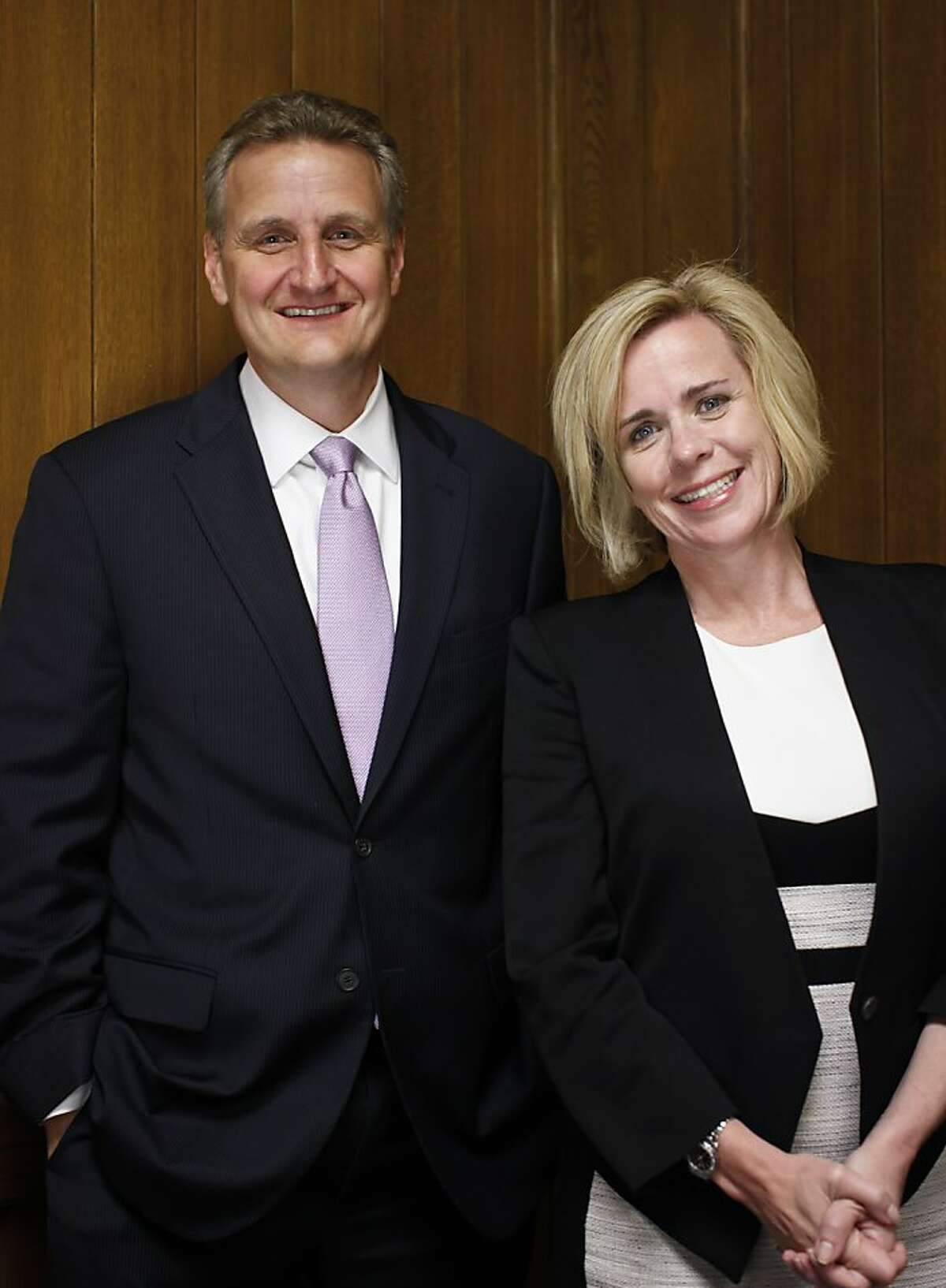 Jeffrey M. Johnson, the newly named publisher of the San Francisco Chronicle, and Joanne K. Bradford, the newly named president of the San Francisco Chronicle, are seen on Thursday, May 23, 2013 in San Francisco, Calif.