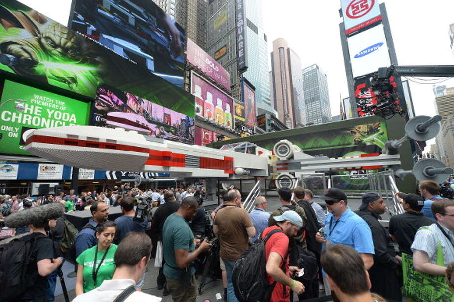 The world's largest Lego model is on display at Times Square in New York, May 23, 2013. Photo: EMMANUEL DUNAND, AFP/Getty Images / 2013 AFP