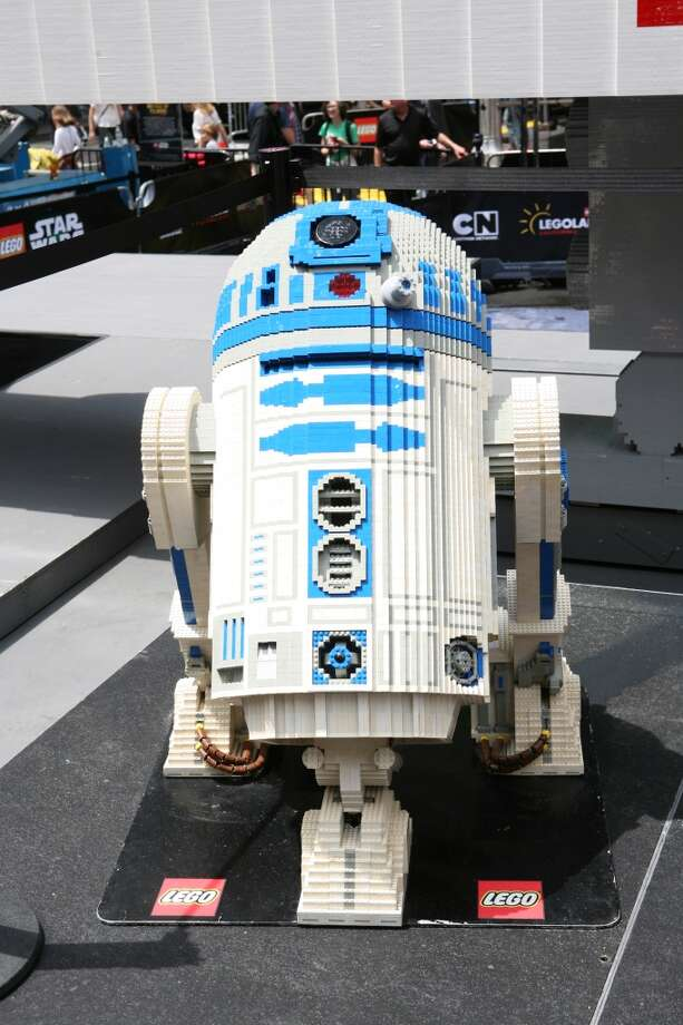 A Lego sculpture of Star Wars' R2D2 is seen after the unveiling of the world's largest Lego model in New York City's Times Square on Thursday May 23, 2013.