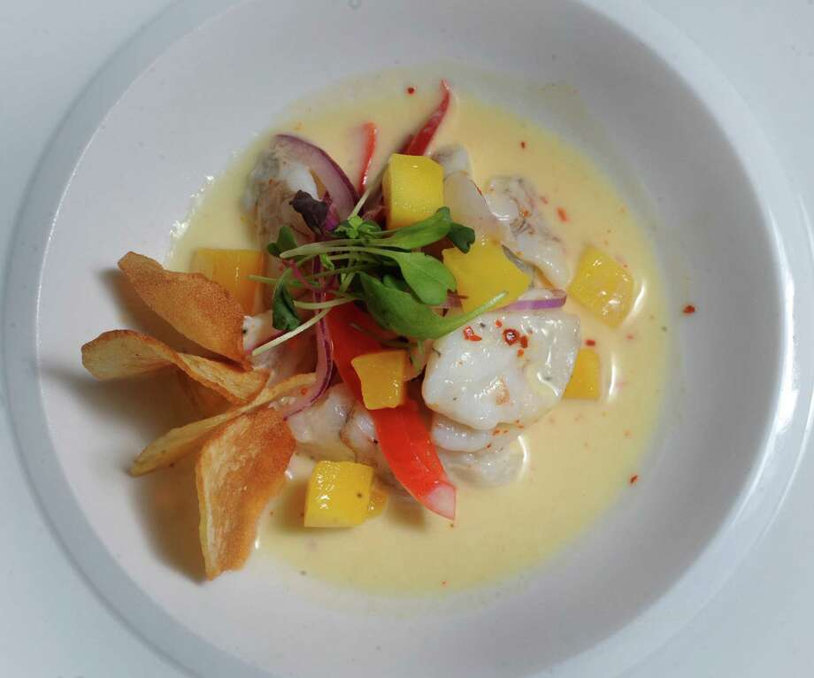 Nao's Coconut Mango Ceviche is spicy and acidic, a style typical of South American ceviches.