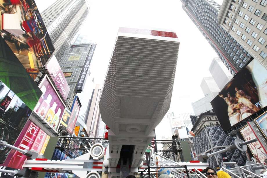 The back of the world's largest Lego model is seen in New York City's Times Square, Thursday May 23, 2013.