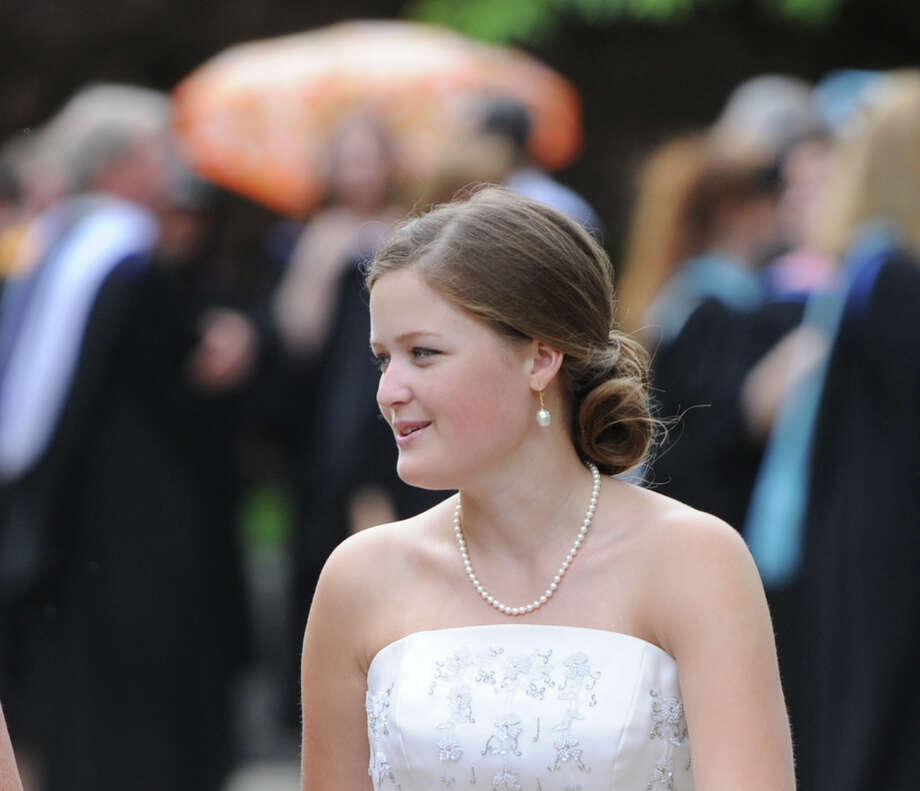 Greenwich Academy graduating senior Phoebe Morrison during the graduation ceremony at the school in Greenwich, Thursday, May 23, 2013. Photo: Bob Luckey / Greenwich Time