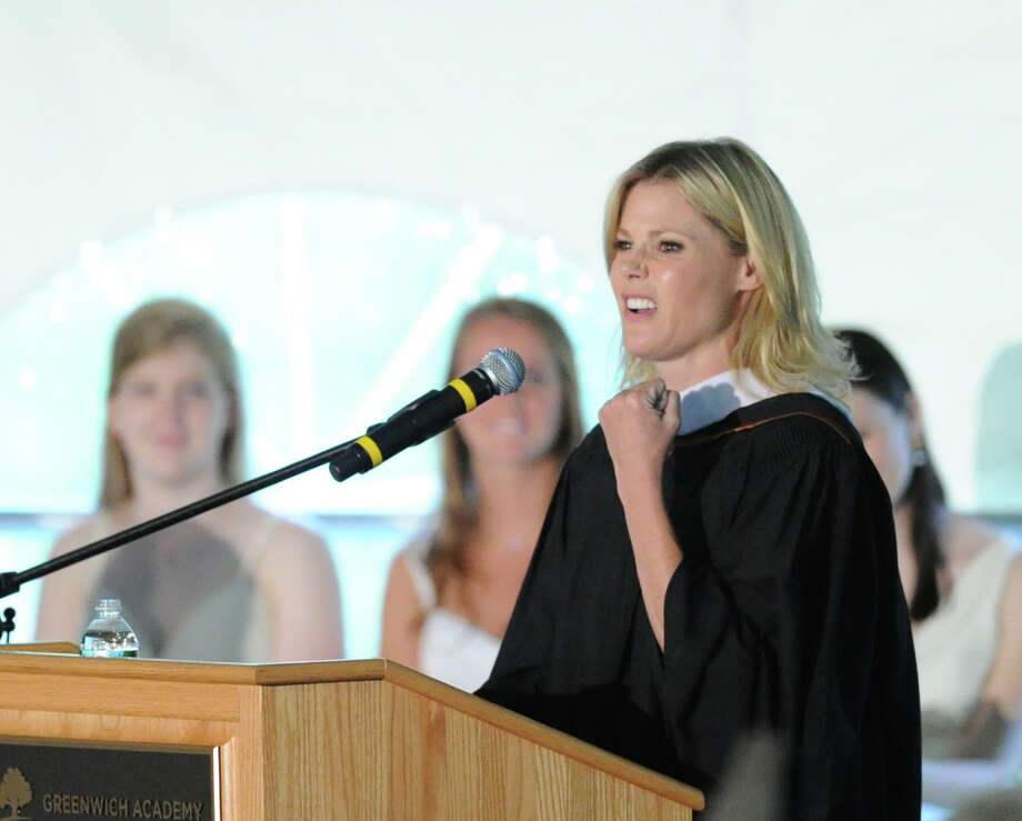 Actress Julie Bowen gives the commencement address during the Greenwich Academy graduation ceremony at the school in Greenwich, Thursday, May 23, 2013. Photo: Bob Luckey / Greenwich Time