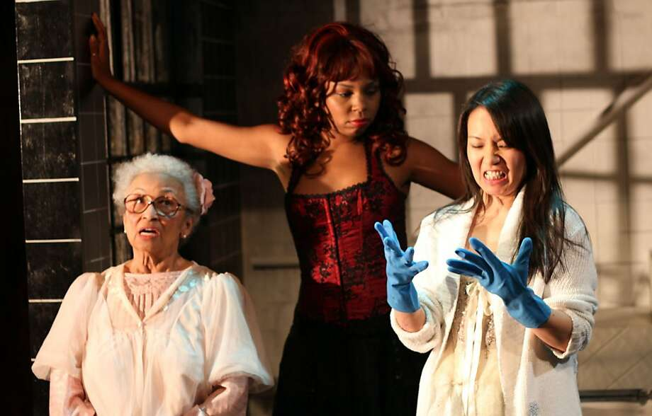 "Gran Ma Ma (Marjorie Crump-Shears, left), Scarlett (Felicia Benefield) and Snowflake (Mimu Tsujimura) in ""Krispy Kritters in the Scarlett Night."" Photo: Rob Melrose"