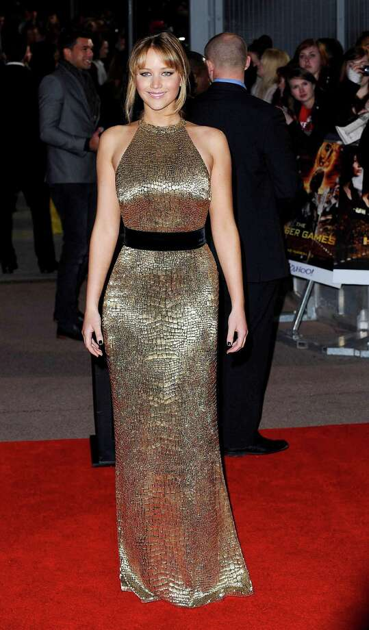 "At the European premiere of ""The Hunger Games"" on March 14, 2012 in London, wearing Ralph Lauren. Photo: Ferdaus Shamim, WireImage / 2012 Ferdaus Shamim"