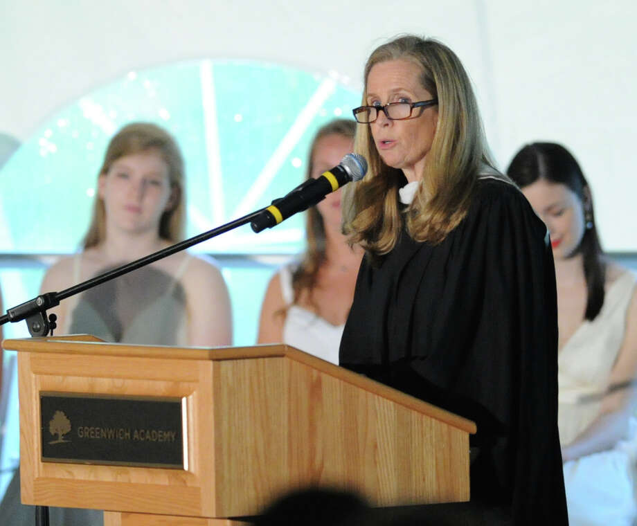 Head of Greenwich Academy, Molly King, speaks during the graduation ceremony at the school in Greenwich, Thursday, May 23, 2013. Photo: Bob Luckey / Greenwich Time