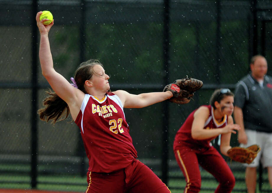 St. Jospeph's Nicole Williams pitches, during FCIAC Softball Championship action against New Canaan at Sacred Heart University in Fairfield, Conn. on Thursday May 23, 2013. Photo: Christian Abraham / Connecticut Post