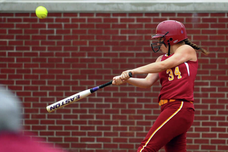 St. Jospeph's Katie Gardella at bat, during FCIAC Softball Championship action against New Canaan at Sacred Heart University in Fairfield, Conn. on Thursday May 23, 2013. Photo: Christian Abraham / Connecticut Post