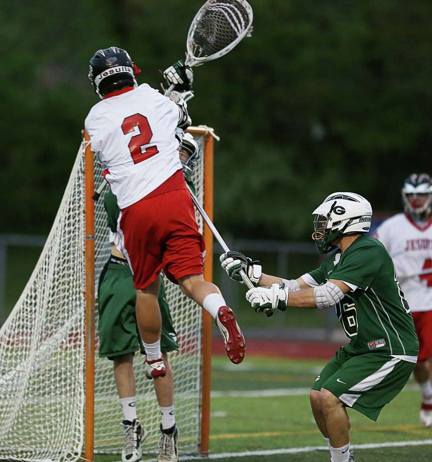 Mike Ross Connecticut Post freelance -Fairfield Prep's #2 Burke Smith takes shot and scores goal on  Guilford High School during Thursday evening match-up in West Haven. Photo: Mike Ross / Mike Ross Connecticut Post freelance-www.mikerossphoto.com