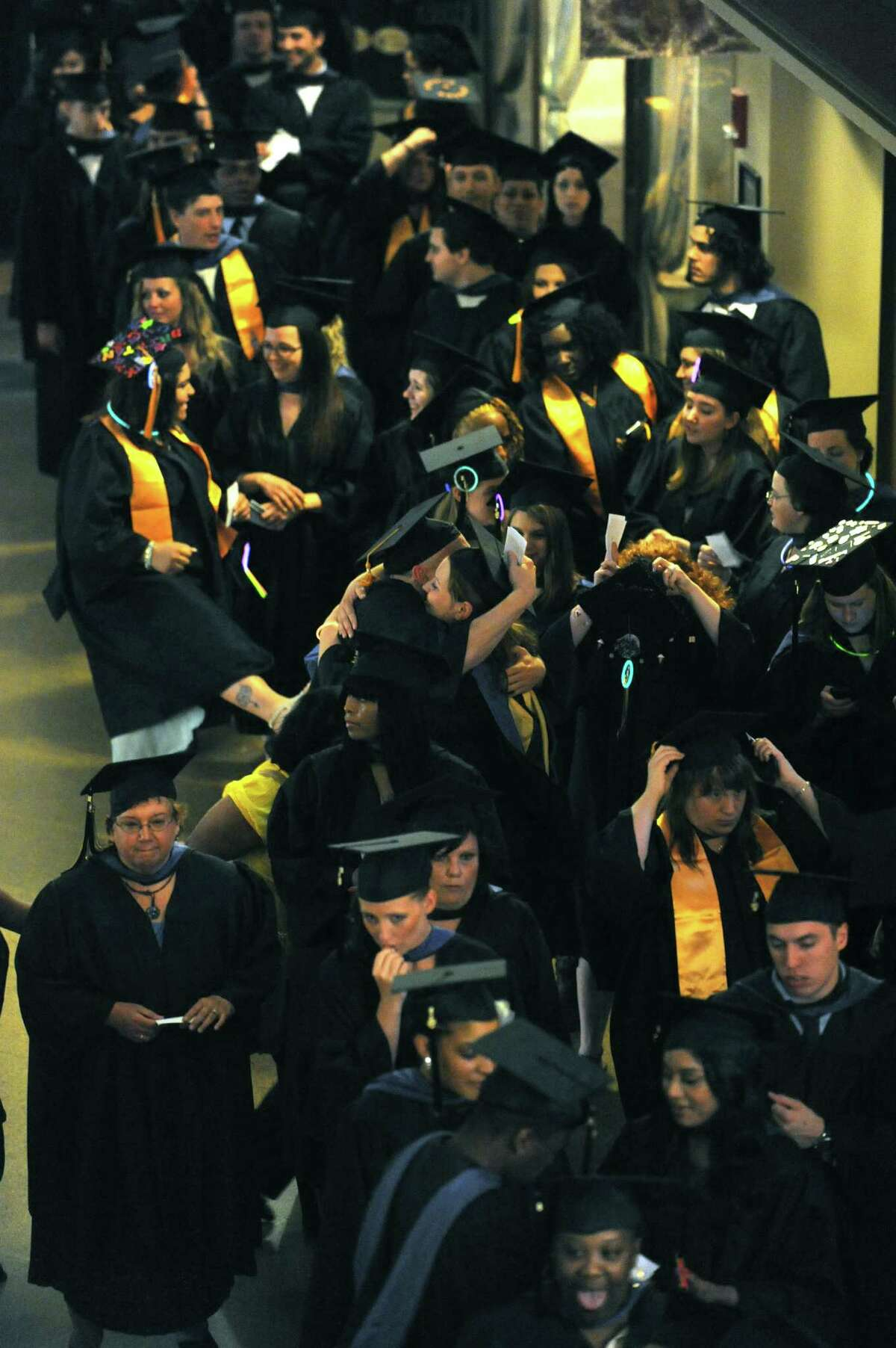 Graduates line up for the processional during Schenectady County Community College's Forty-Third graduation commencement at Proctors on Thursday May 23, 2013 in Schenectady, N.Y. (Michael P. Farrell/Times Union)
