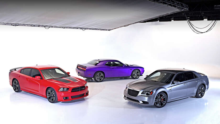 "Group shot of 2013 ""Core"" Performance Models - Dodge Challenger SRT8, Chrysler 300 SRT8 and Dodge Charger SRT8 Super Bee.  Model exclusive content includes ballistic cloth seat inserts (as in Viper) and SRT-tuned sport suspensions."